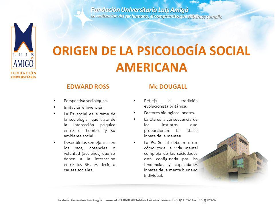 ORIGEN DE LA PSICOLOGÍA SOCIAL AMERICANA