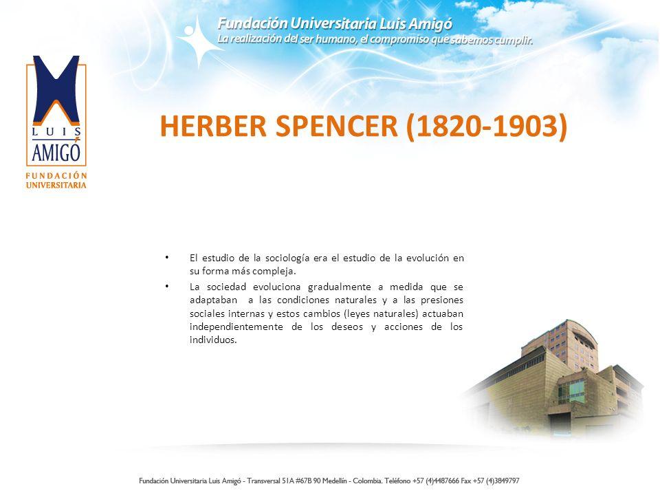 HERBER SPENCER (1820-1903) El estudio de la sociología era el estudio de la evolución en su forma más compleja.