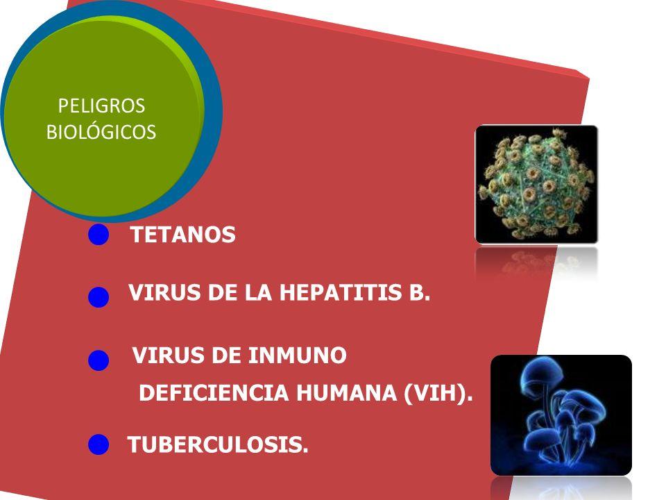 PELIGROS BIOLÓGICOS. TETANOS. VIRUS DE LA HEPATITIS B. VIRUS DE INMUNO. DEFICIENCIA HUMANA (VIH).