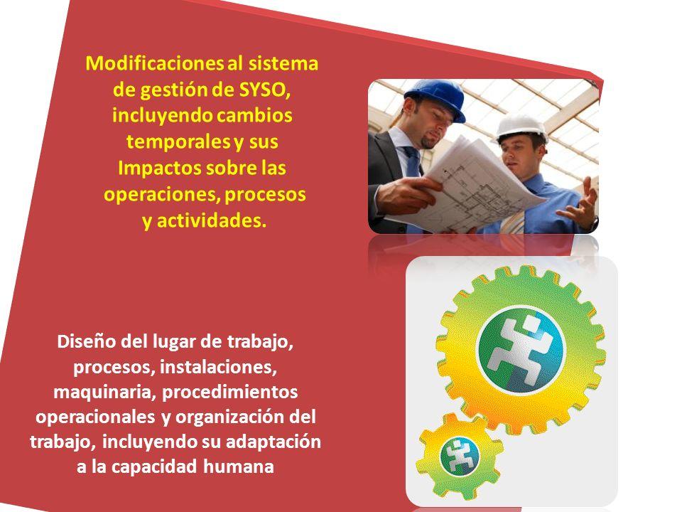 Modificaciones al sistema de gestión de SYSO, incluyendo cambios