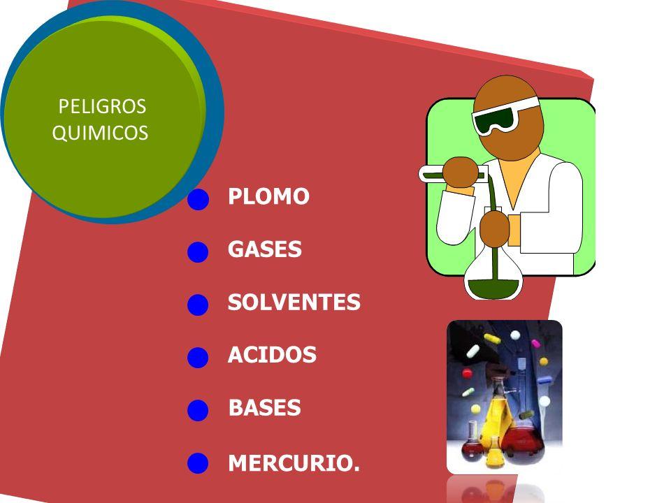 PELIGROS QUIMICOS PLOMO GASES SOLVENTES ACIDOS BASES MERCURIO.