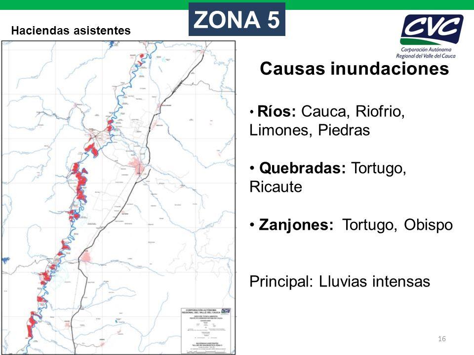 ZONA 5 Causas inundaciones Quebradas: Tortugo, Ricaute