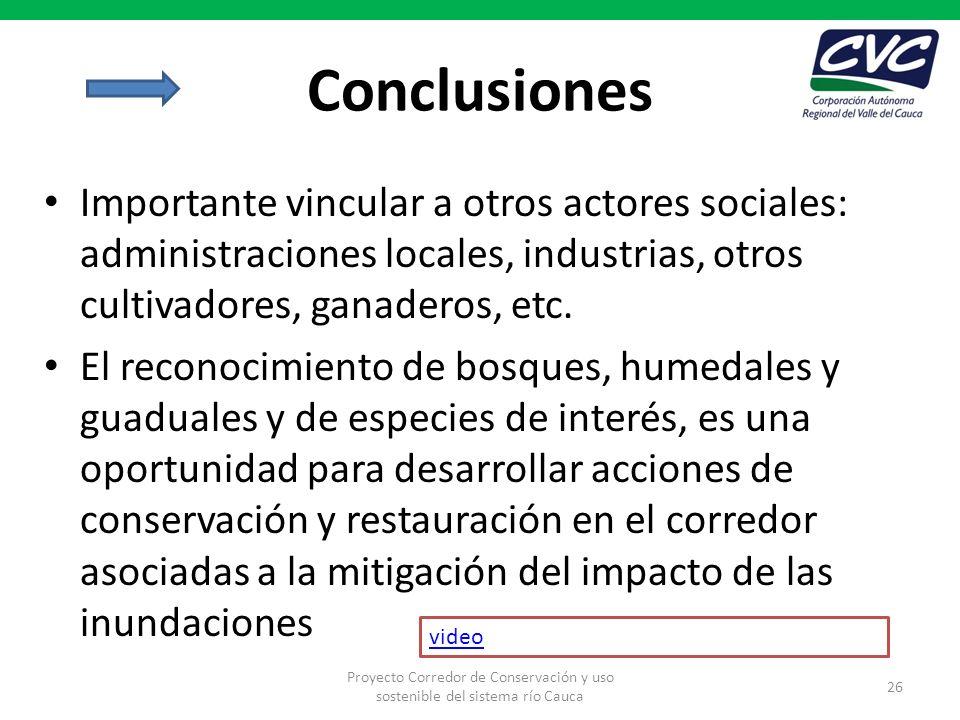 Conclusiones Importante vincular a otros actores sociales: administraciones locales, industrias, otros cultivadores, ganaderos, etc.