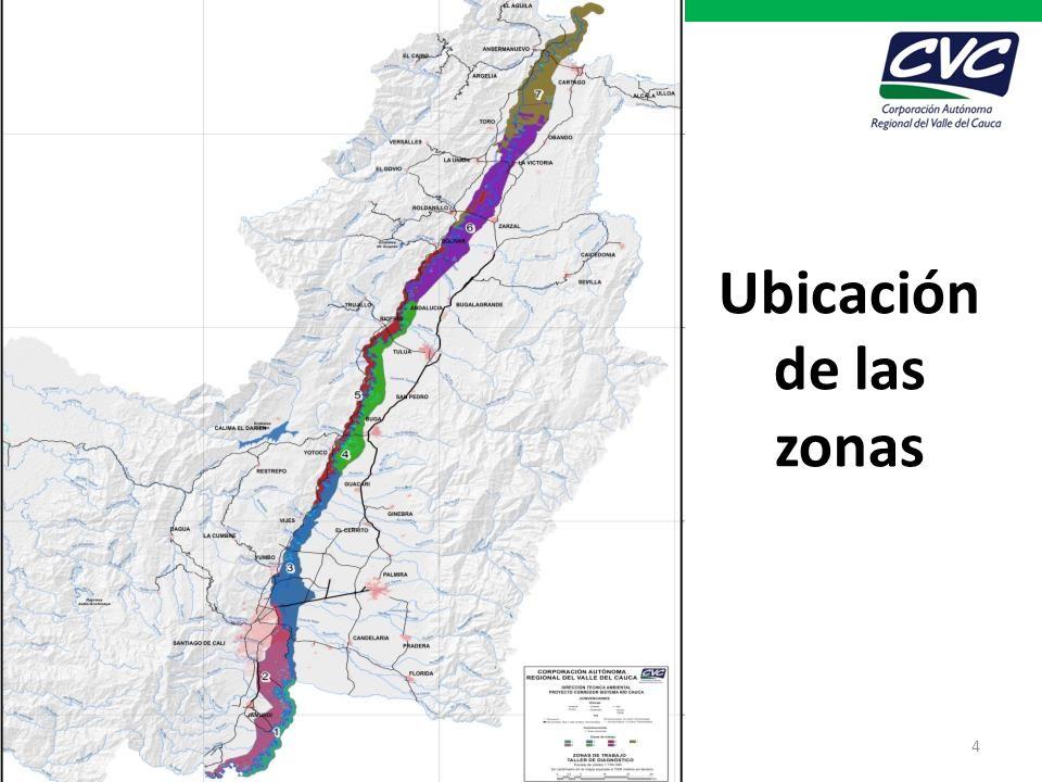 Ubicación de las zonas Proyecto Corredor de Conservación y uso sostenible del sistema río Cauca