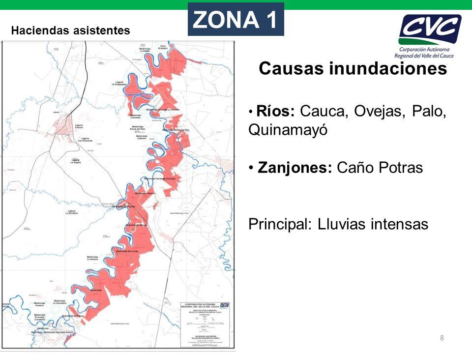 ZONA 1 Causas inundaciones Zanjones: Caño Potras