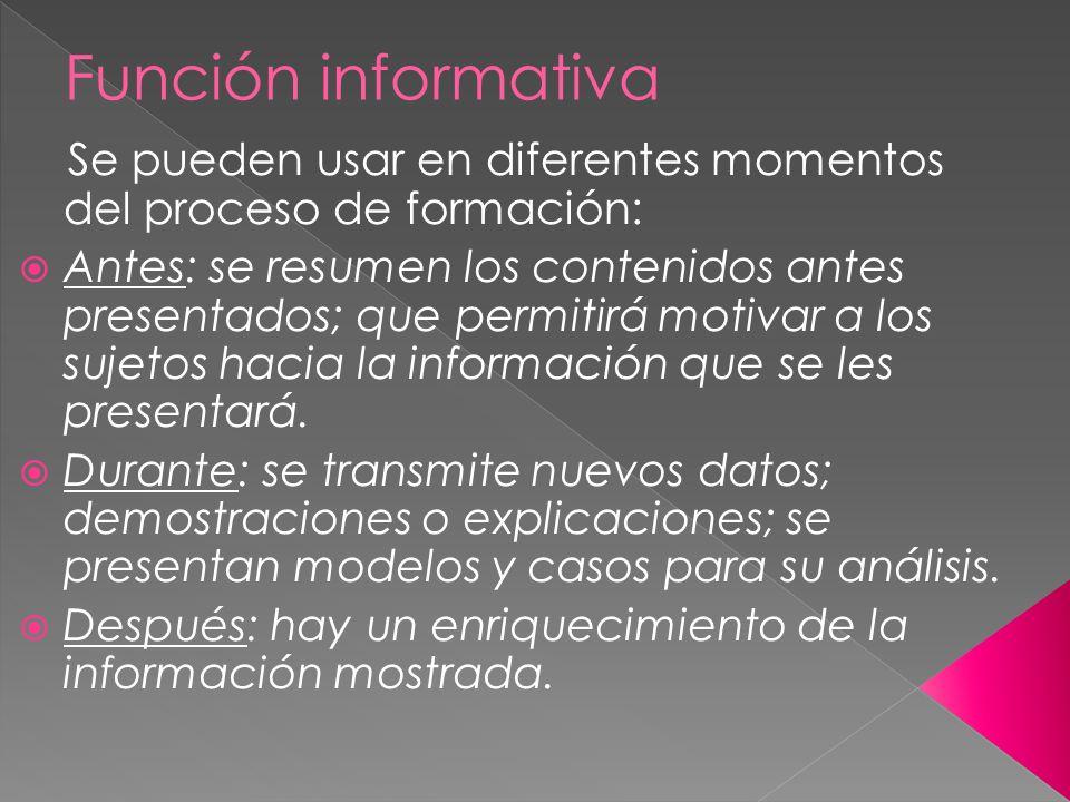 Función informativa Se pueden usar en diferentes momentos del proceso de formación: