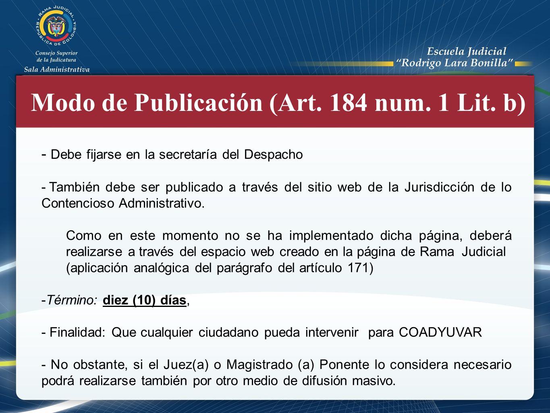 Modo de Publicación (Art. 184 num. 1 Lit. b)