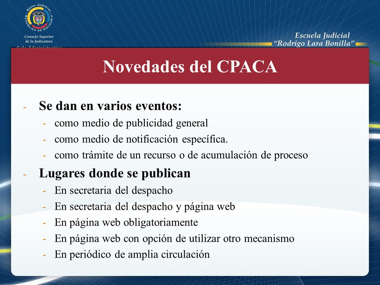 Novedades del CPACA Se dan en varios eventos: