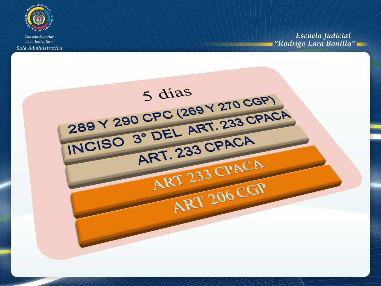 5 días 289 Y 290 CPC (269 Y 270 CGP) INCISO 3° DEL ART. 233 CPACA