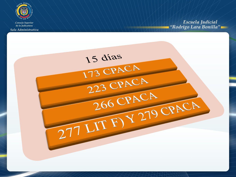 15 días 173 CPACA 223 CPACA 266 CPACA 277 LIT F) Y 279 CPACA