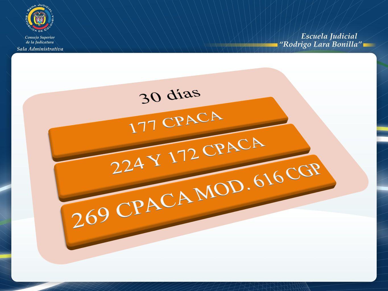 30 días 177 CPACA 224 Y 172 CPACA 269 CPACA MOD. 616 CGP