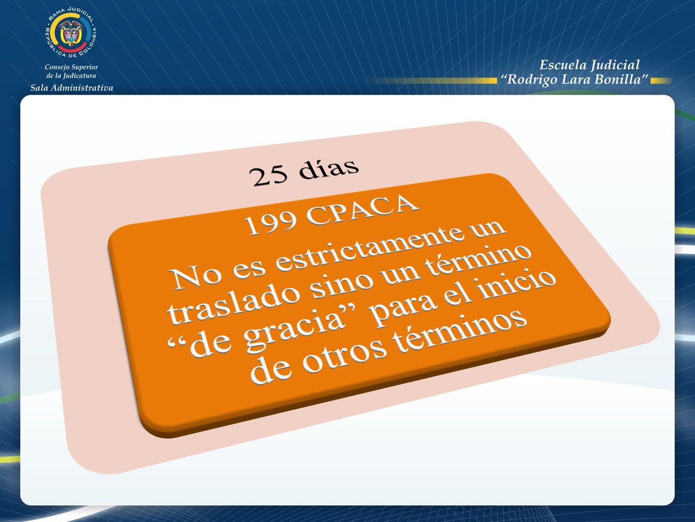 25 días No es estrictamente un traslado sino un término de gracia para el inicio de otros términos.