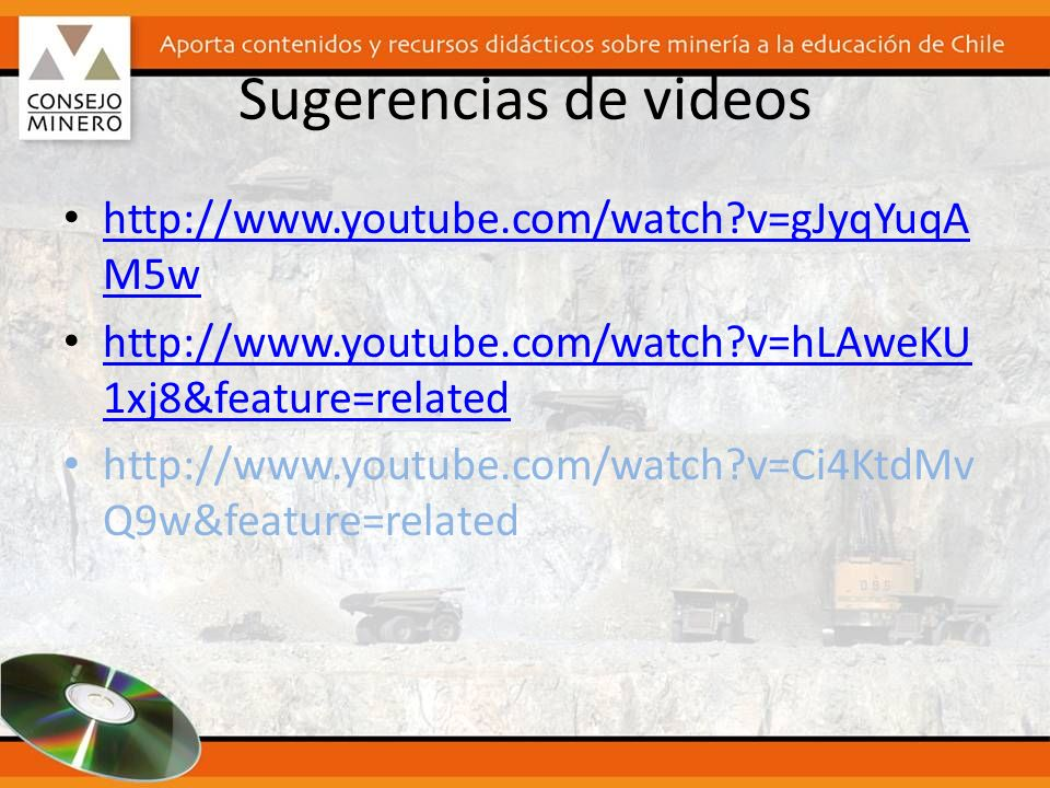Sugerencias de videos http://www.youtube.com/watch v=gJyqYuqAM5w