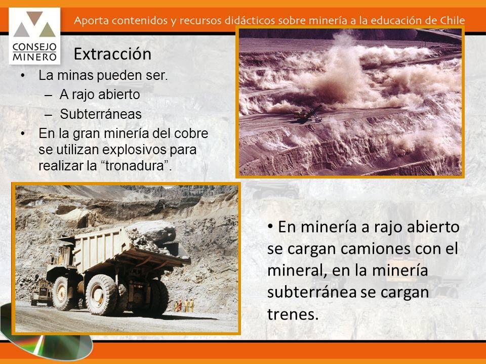 Extracción La minas pueden ser. A rajo abierto. Subterráneas. En la gran minería del cobre se utilizan explosivos para realizar la tronadura .