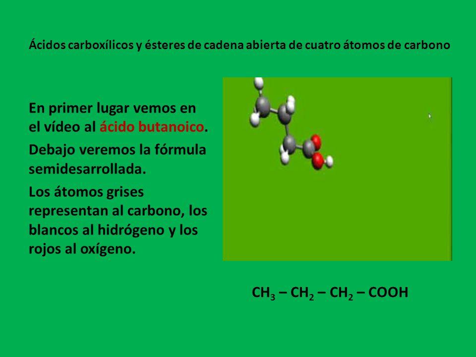 En primer lugar vemos en el vídeo al ácido butanoico.