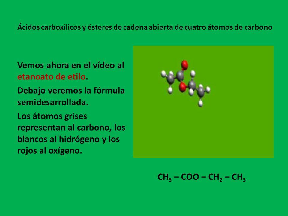 Vemos ahora en el vídeo al etanoato de etilo.