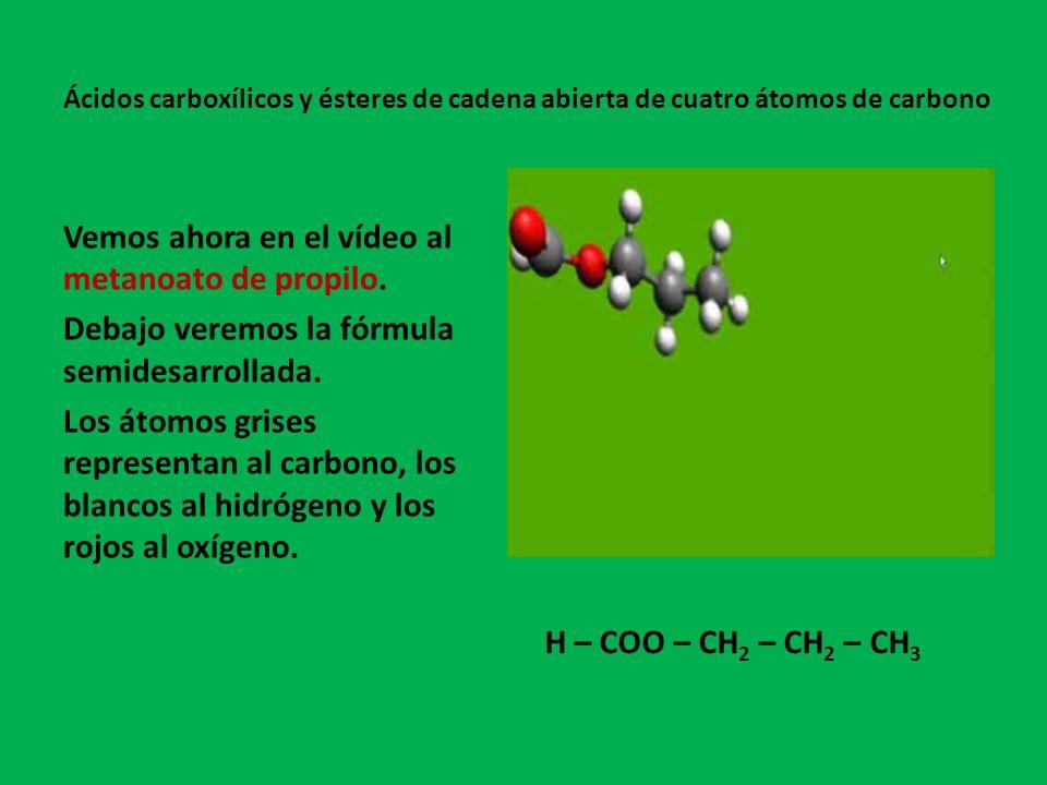 Vemos ahora en el vídeo al metanoato de propilo.
