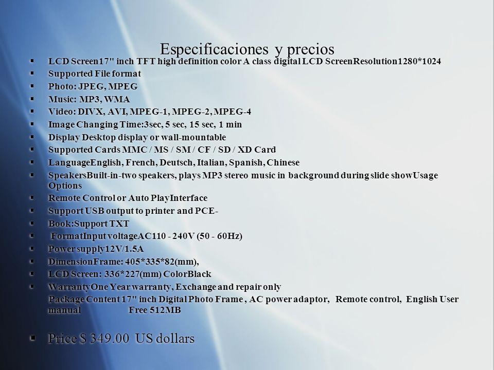 Especificaciones y precios