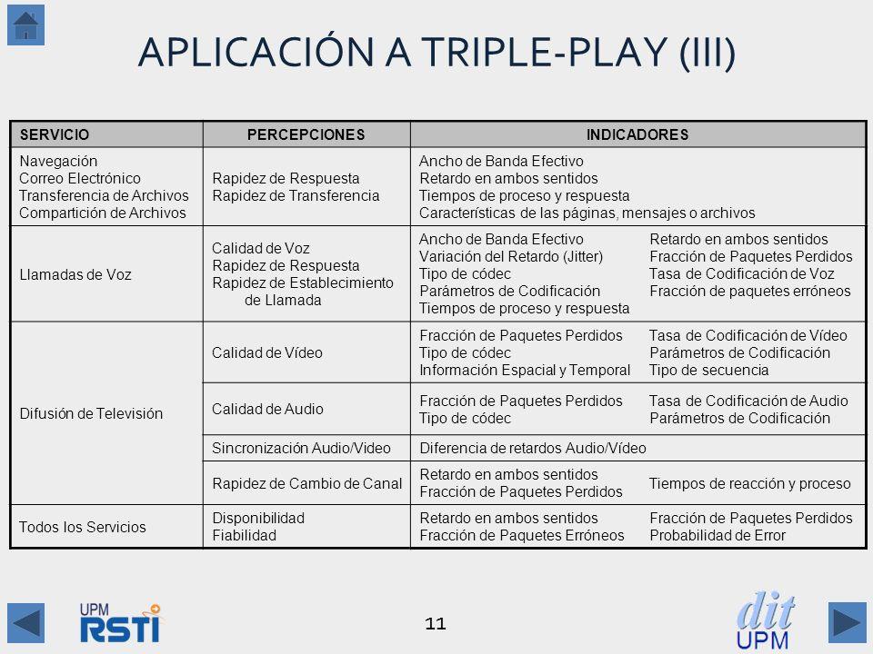 APLICACIÓN A TRIPLE-PLAY (III)