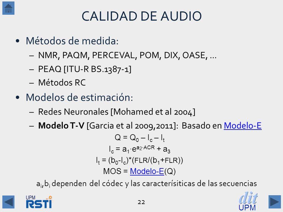 CALIDAD DE AUDIO Métodos de medida: Modelos de estimación:
