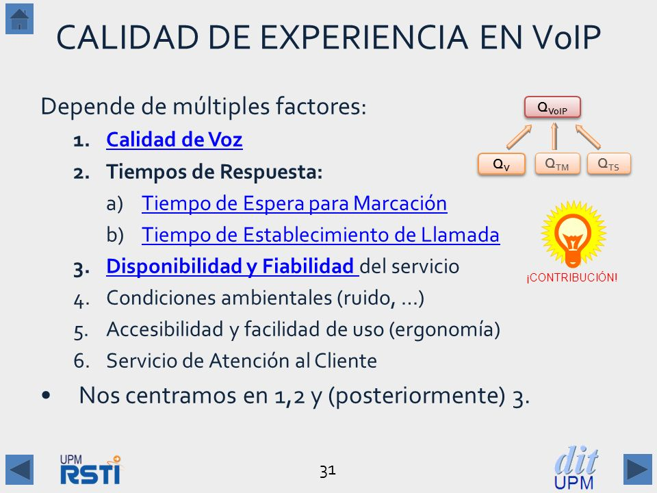 CALIDAD DE EXPERIENCIA EN VoIP