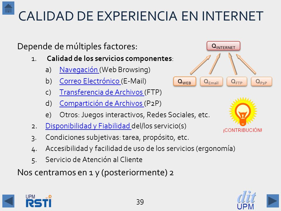 CALIDAD DE EXPERIENCIA EN INTERNET