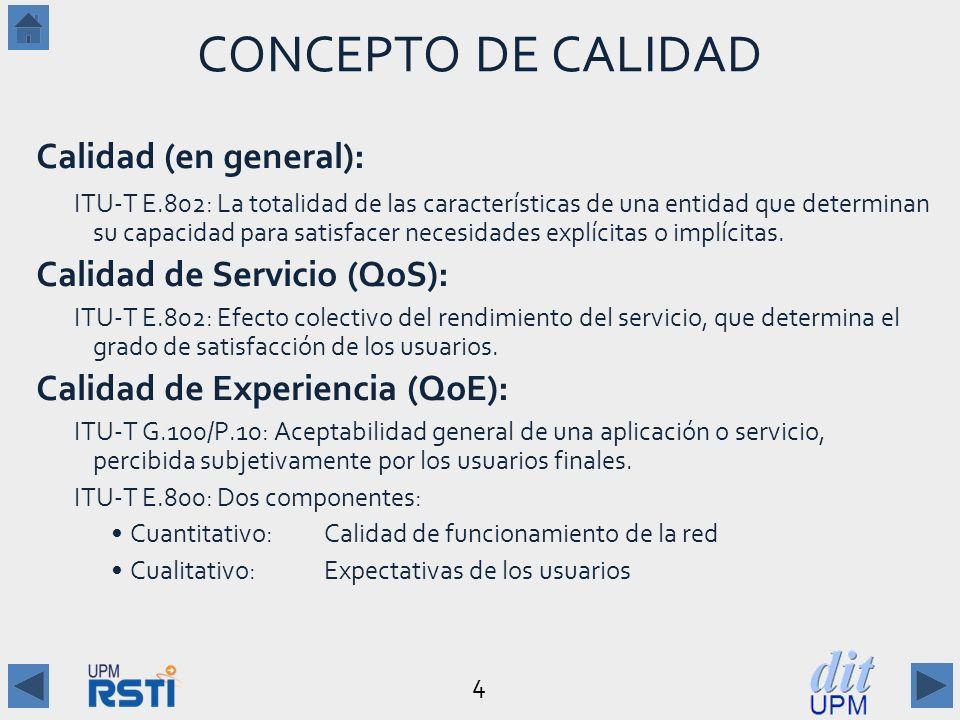 CONCEPTO DE CALIDAD Calidad (en general): Calidad de Servicio (QoS):