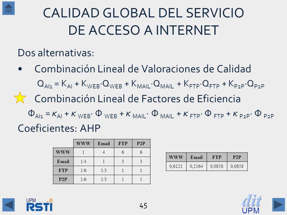 CALIDAD GLOBAL DEL SERVICIO DE ACCESO A INTERNET