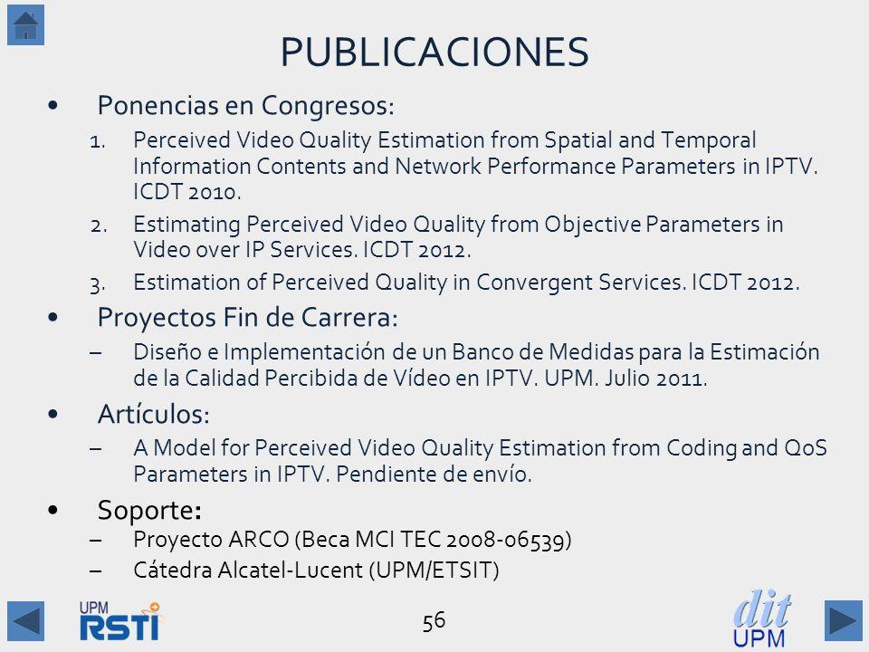 PUBLICACIONES Ponencias en Congresos: Proyectos Fin de Carrera: