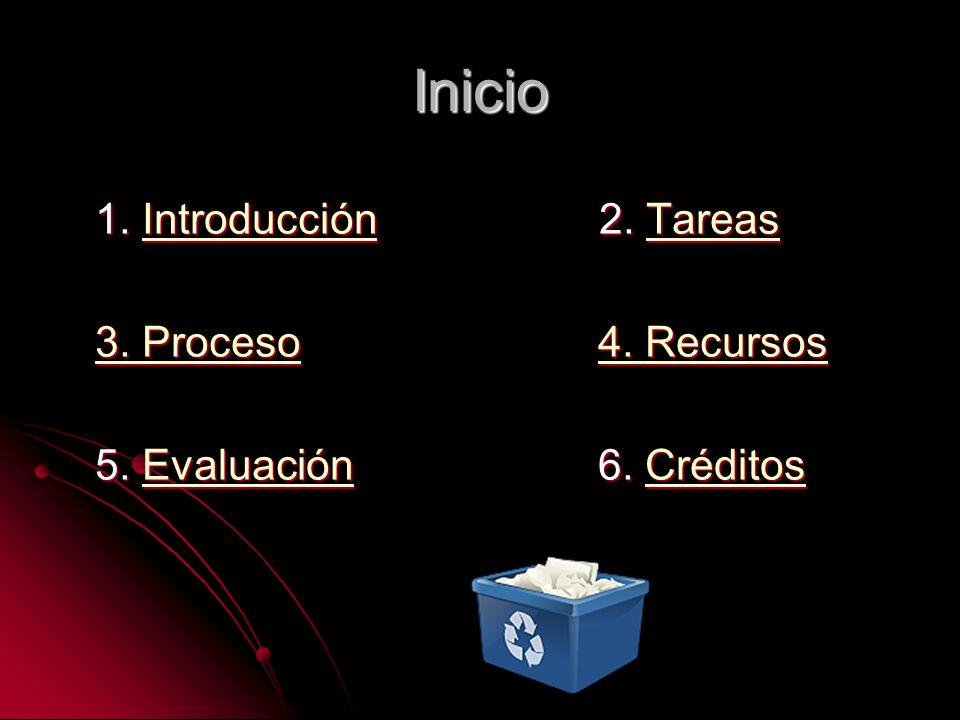 Inicio 1. Introducción 2. Tareas 3. Proceso 4. Recursos