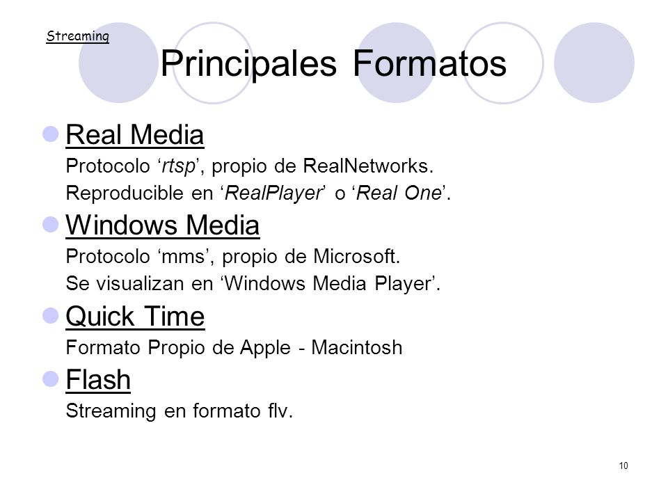 Principales Formatos Real Media Windows Media Quick Time Flash