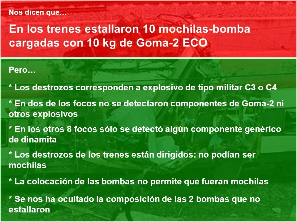 Nos dicen que… En los trenes estallaron 10 mochilas-bomba cargadas con 10 kg de Goma-2 ECO. Pero…