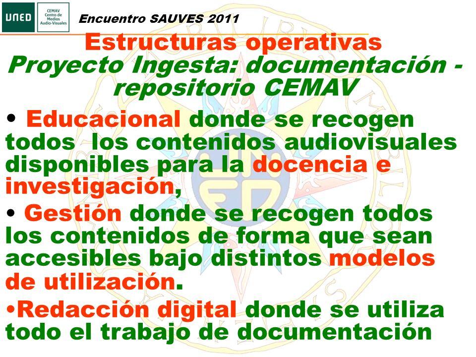 Encuentro SAUVES 2011 Estructuras operativas. Proyecto Ingesta: documentación - repositorio CEMAV.