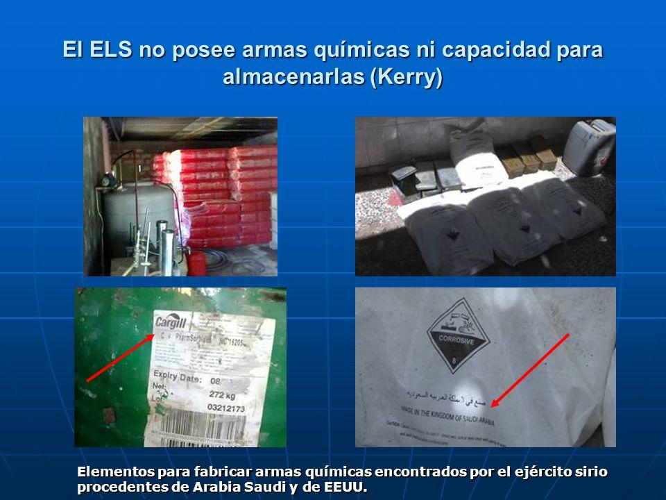 El ELS no posee armas químicas ni capacidad para almacenarlas (Kerry)
