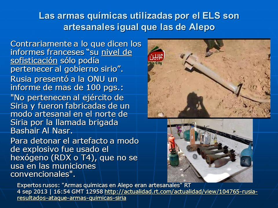 Las armas químicas utilizadas por el ELS son artesanales igual que las de Alepo