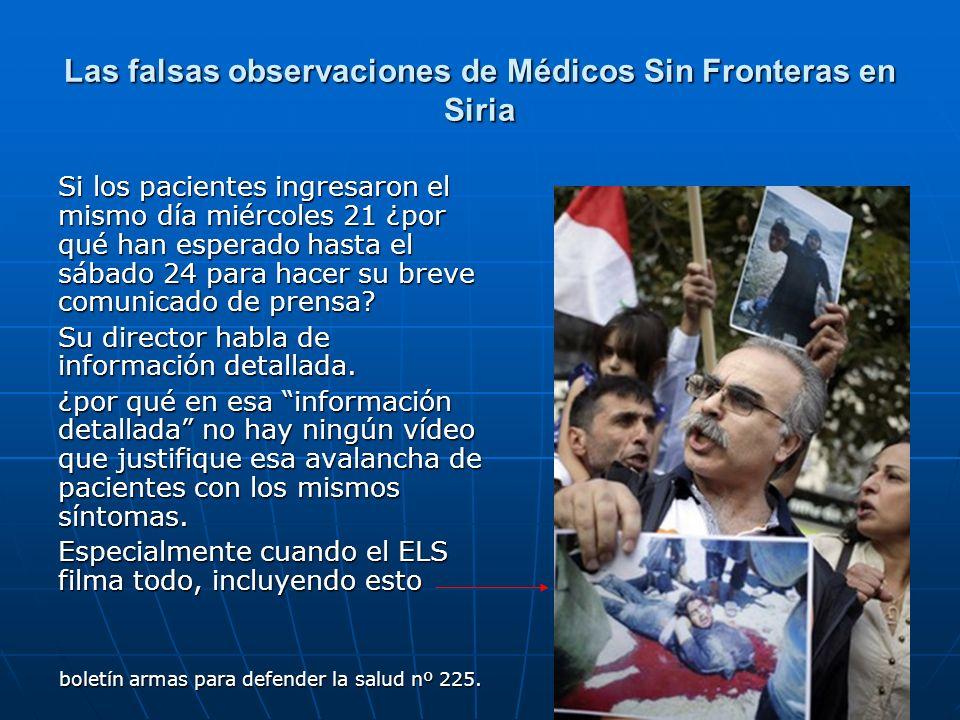 Las falsas observaciones de Médicos Sin Fronteras en Siria