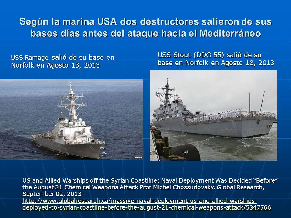 Según la marina USA dos destructores salieron de sus bases días antes del ataque hacia el Mediterráneo