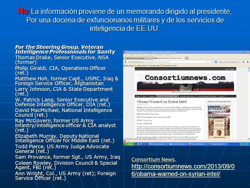 No La información proviene de un memorando dirigido al presidente, Por una docena de exfuncionarios militares y de los servicios de inteligencia de EE.UU.