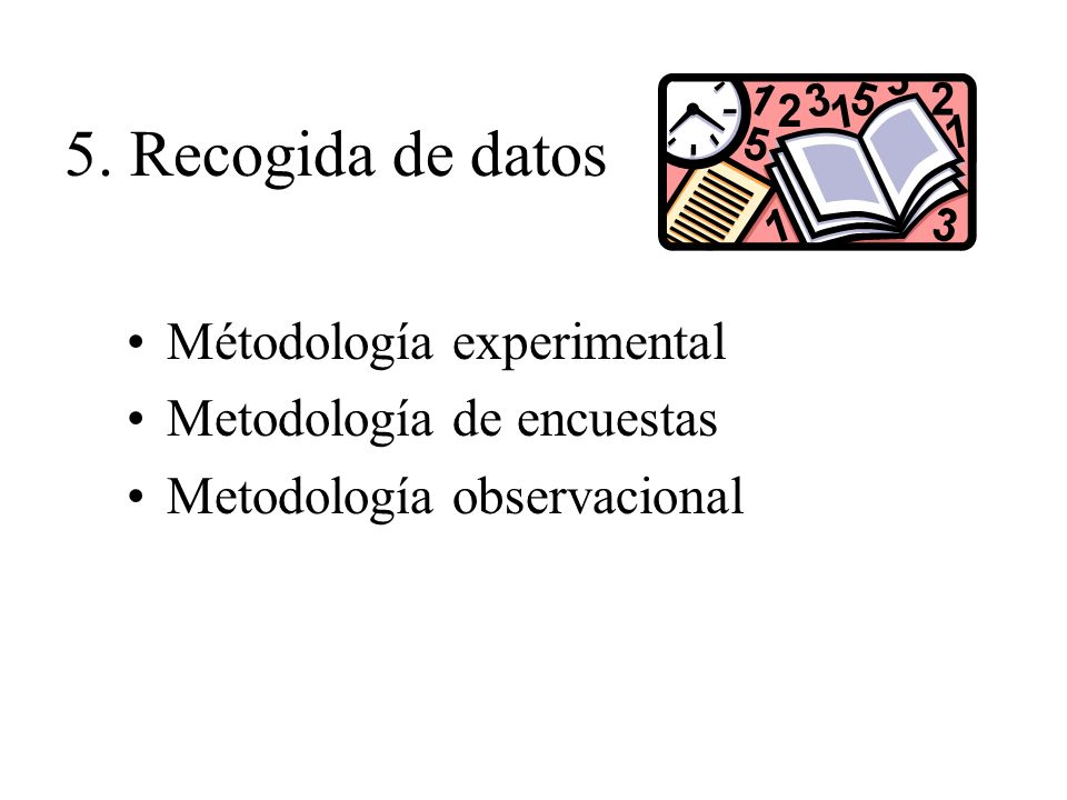 5. Recogida de datos Métodología experimental Metodología de encuestas