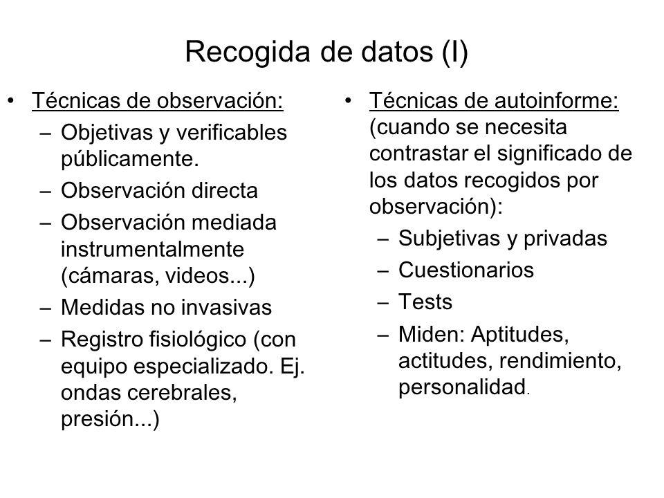 Recogida de datos (I) Técnicas de observación: