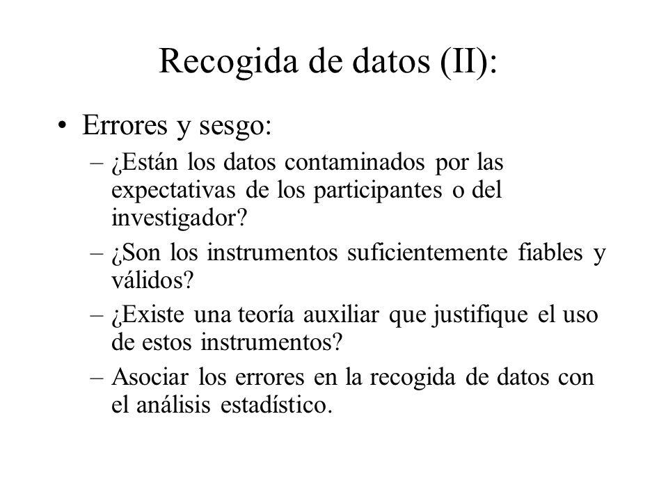Recogida de datos (II):
