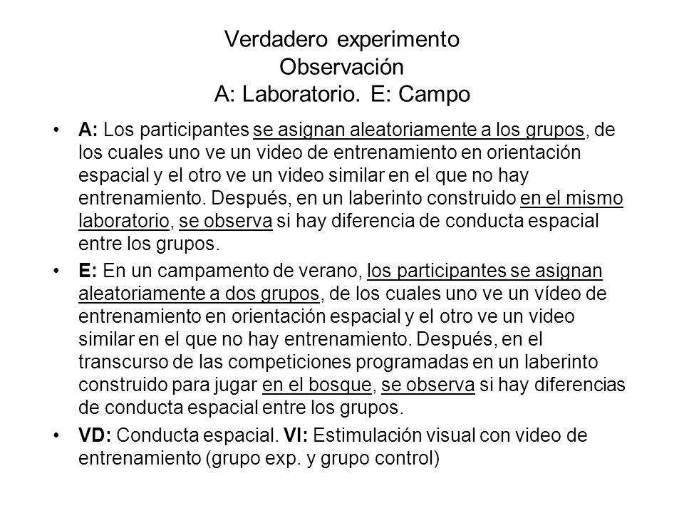 Verdadero experimento Observación A: Laboratorio. E: Campo