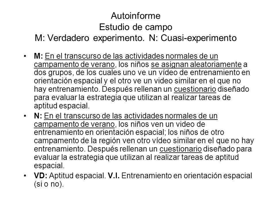 Autoinforme Estudio de campo M: Verdadero experimento