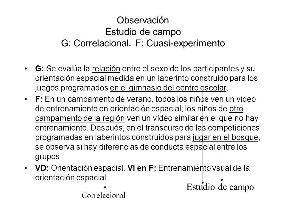 Observación Estudio de campo G: Correlacional. F: Cuasi-experimento