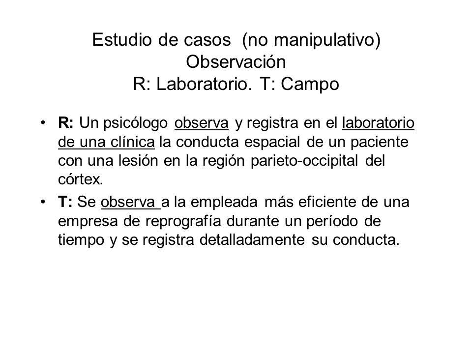 Estudio de casos (no manipulativo) Observación R: Laboratorio. T: Campo