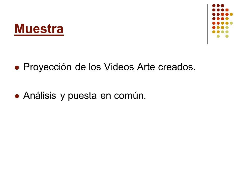 Muestra Proyección de los Videos Arte creados.
