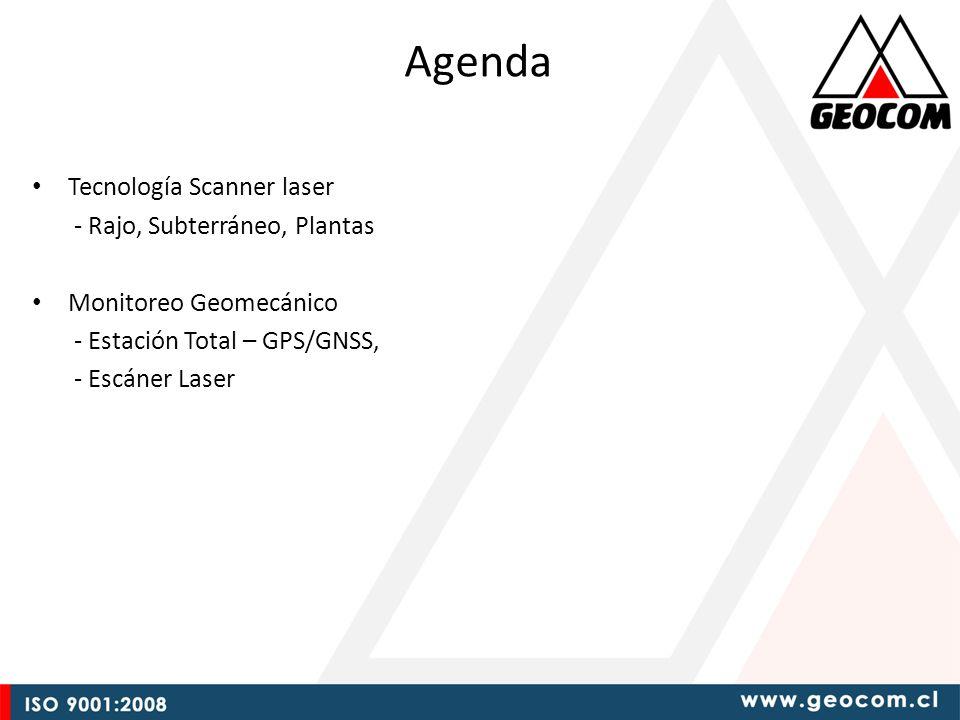 Agenda Tecnología Scanner laser - Rajo, Subterráneo, Plantas