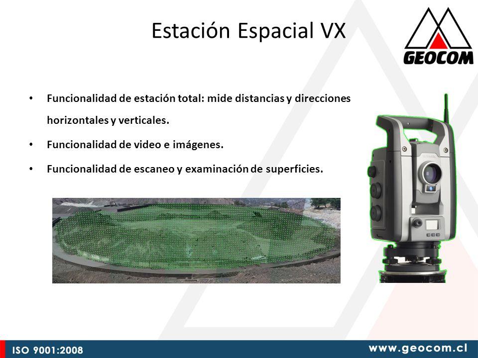 Estación Espacial VX Funcionalidad de estación total: mide distancias y direcciones horizontales y verticales.
