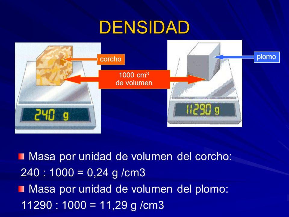 DENSIDAD Masa por unidad de volumen del corcho:
