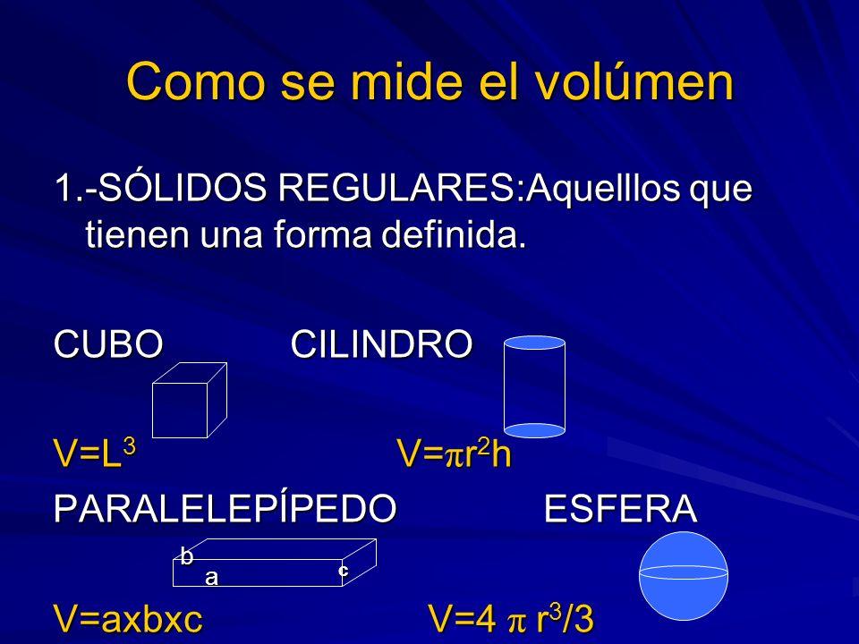 Como se mide el volúmen 1.-SÓLIDOS REGULARES:Aquelllos que tienen una forma definida. CUBO CILINDRO.